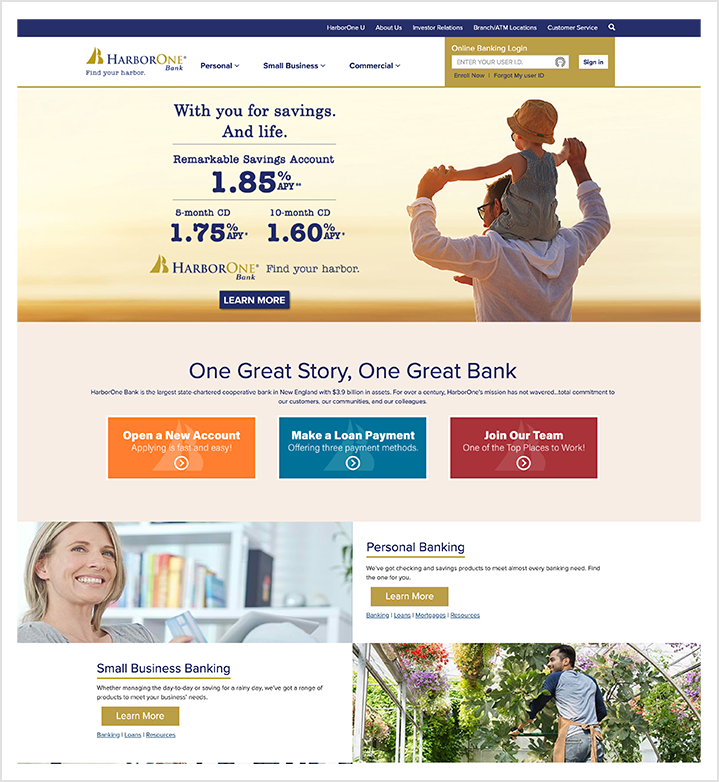HarborOne Bank home page