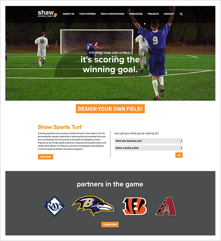 Shaw Sports Turf home page