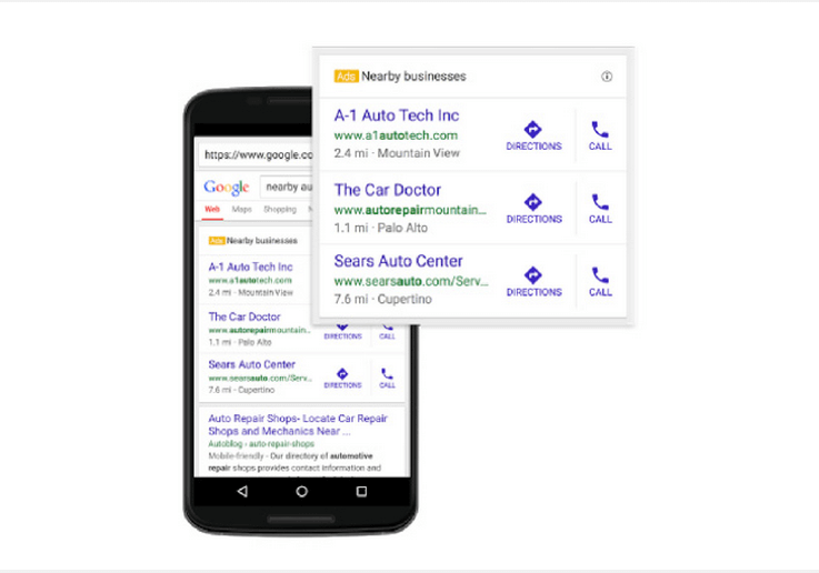 google nearby business mobile ad