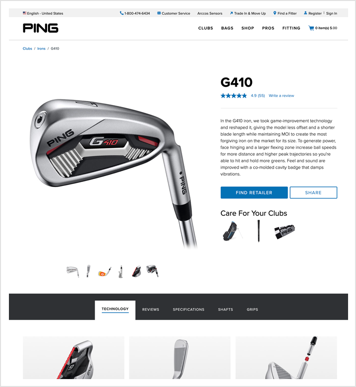 PING product detail page
