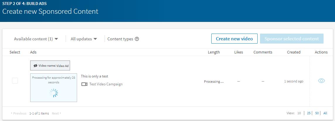 Screenshot Create New Sponsored Content