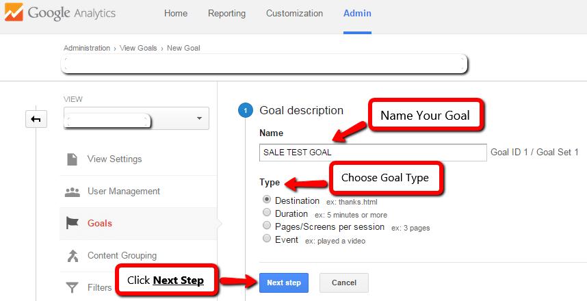 Third Step of Ecommerce Google Analytics Goal Set Up