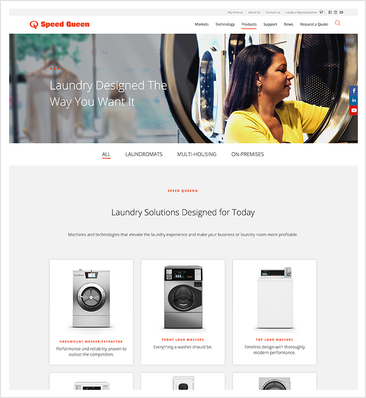 Speed Queen Laundry Solutions Page