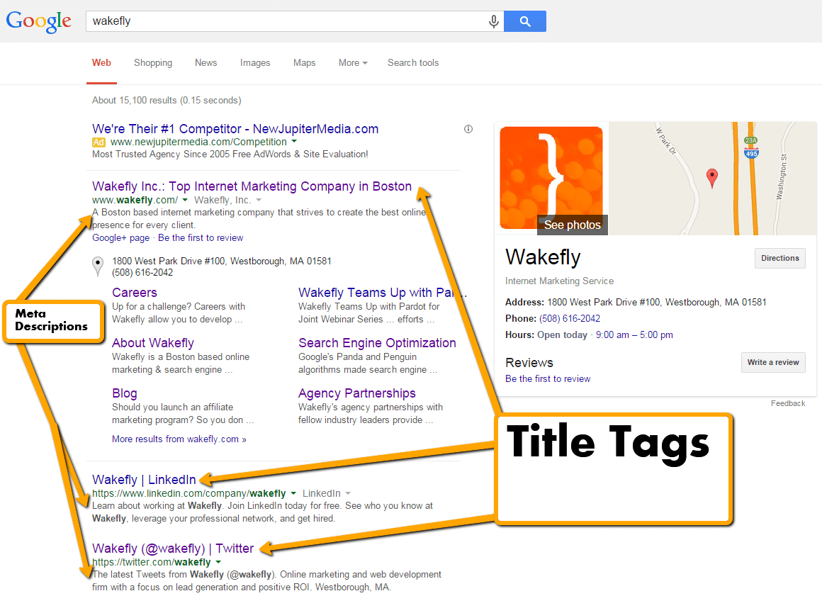 Search Engine Result Page with arrows pointing to Title Tags and Meta Descriptions