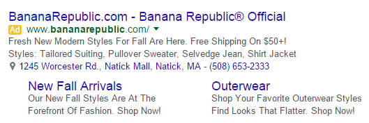 How structured snippets look in your ad