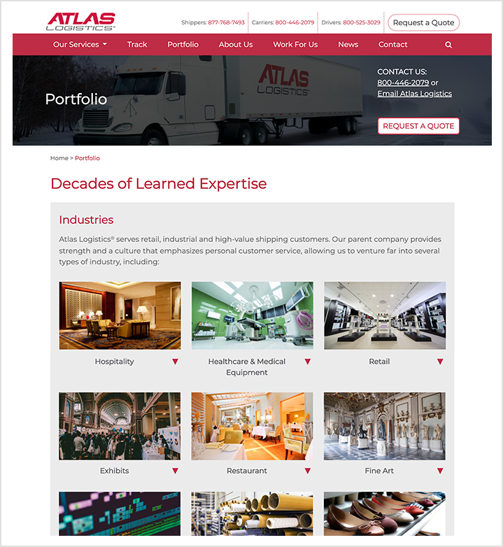 atlas logistics interior page