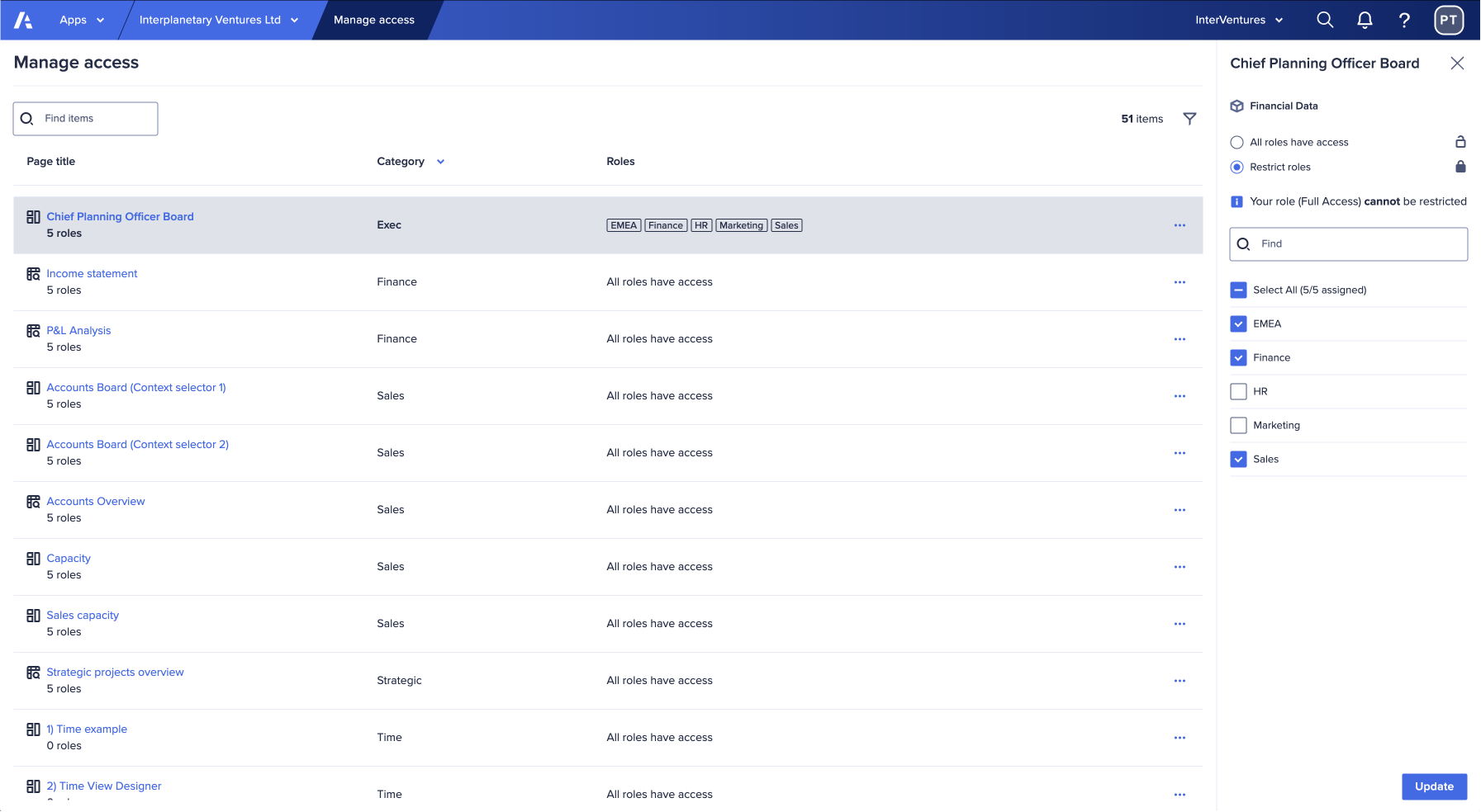 the Manage access screen displays a list of available pages in an app. On the right-hand side, the current role assignments for the selected page display in a panel.