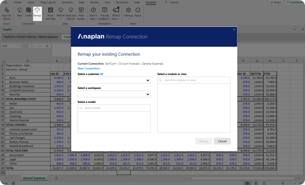 Remap on ribbon and dialog.
