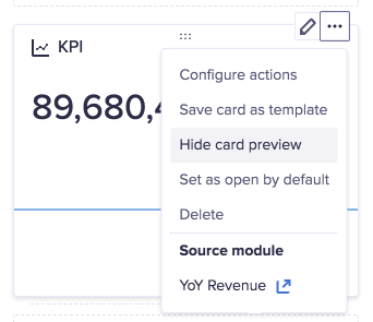 KPI card on a worksheet in designer mode. The more options dropdown has been selected. The Hide card preview option is highlighted.