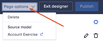 Page options dropdown in the top of a page in designer mode.