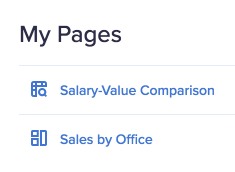 My Pages category on the app contents screen. Two page titles are displayed: Salary-Value Comparison and Sales by Office.