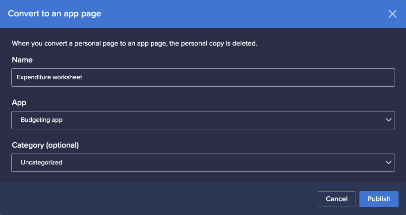 Convert to an app page dialog. Name, App, and Category fields are displayed.