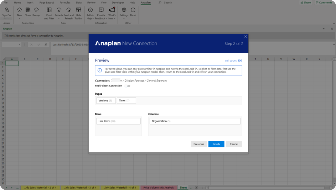 Preview dialog with pages, rows, and columns.