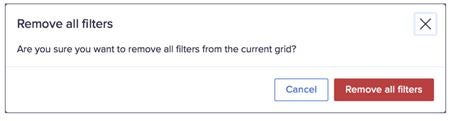 Remove all filters dialog.