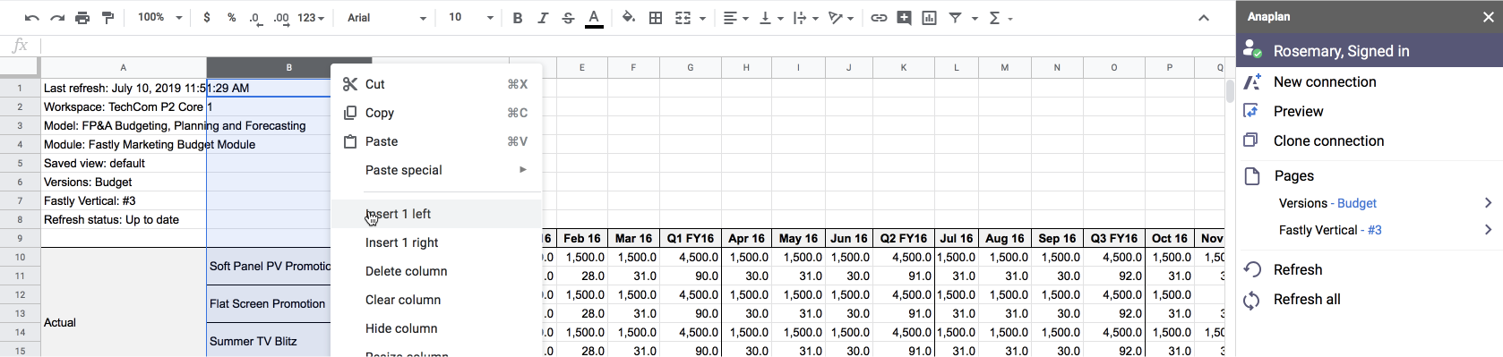 A Google Sheets worksheet displaying data from an Anaplan module that uses nested dimensions. A context menu has been opened for the column where the second level dimensions are. The cursor hovers over the Insert 1 left menu option.
