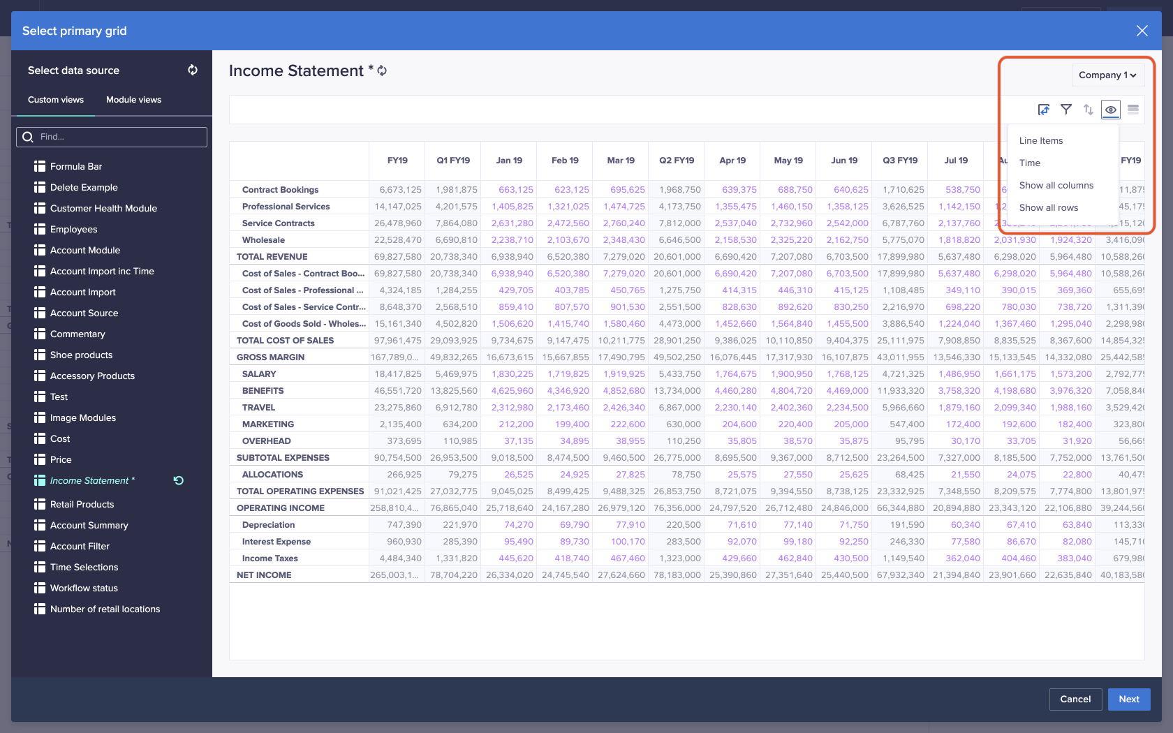 A custom view based on a module named Income Statement. The Show / Hide icon, an eye, has been clicked in the top-right of the screen, and a dropdown displays.