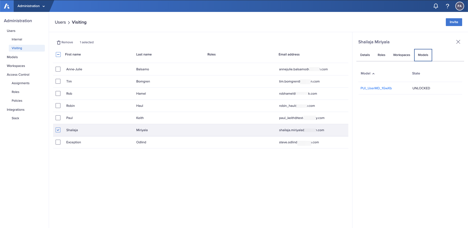 The Models tab in the Using > Visitors interface in the Administration console.