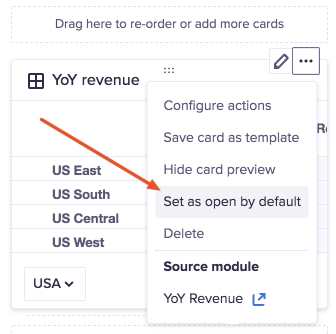 Grid card on a worksheet in designer mode. The More actions dropdown has been selected. The Set as open by default option is highlighted.
