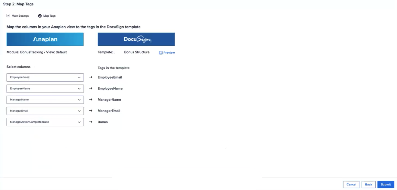 Map the Anaplan module columns and the DocuSign tags.