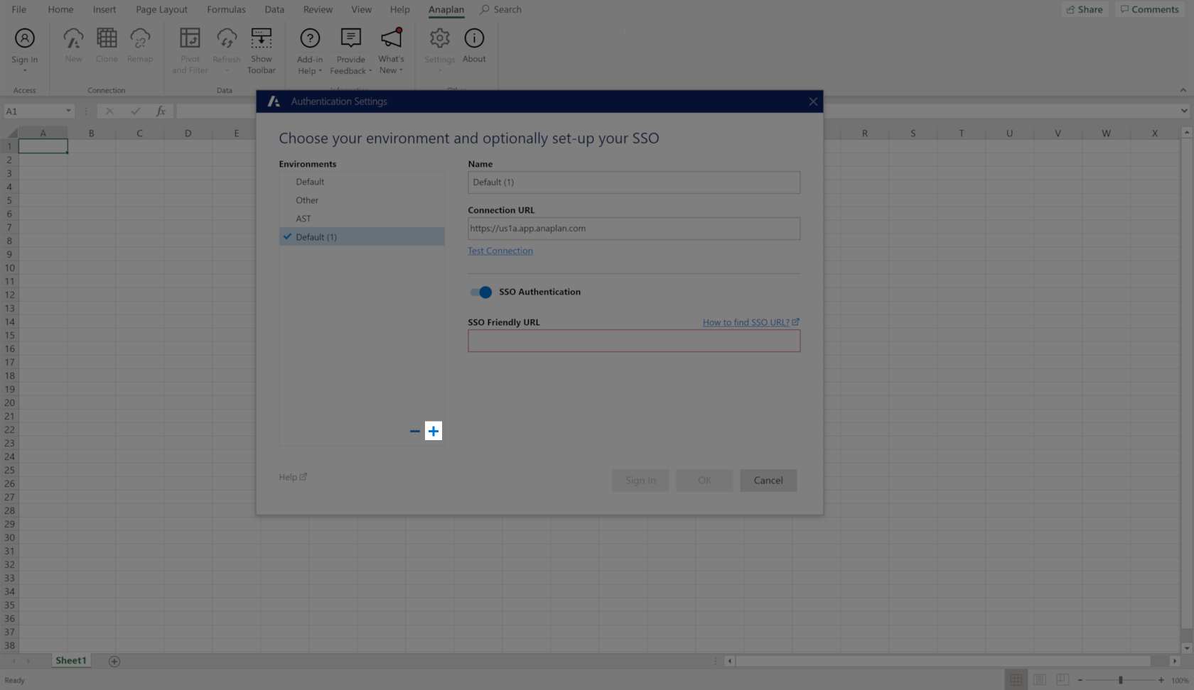 Click the plus sign at the bottom-right of the Environments panel to add authentication settings.