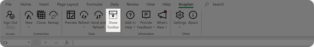 The toolbar enables you to change your context selection for your connection. Click Refresh each time you make a change.