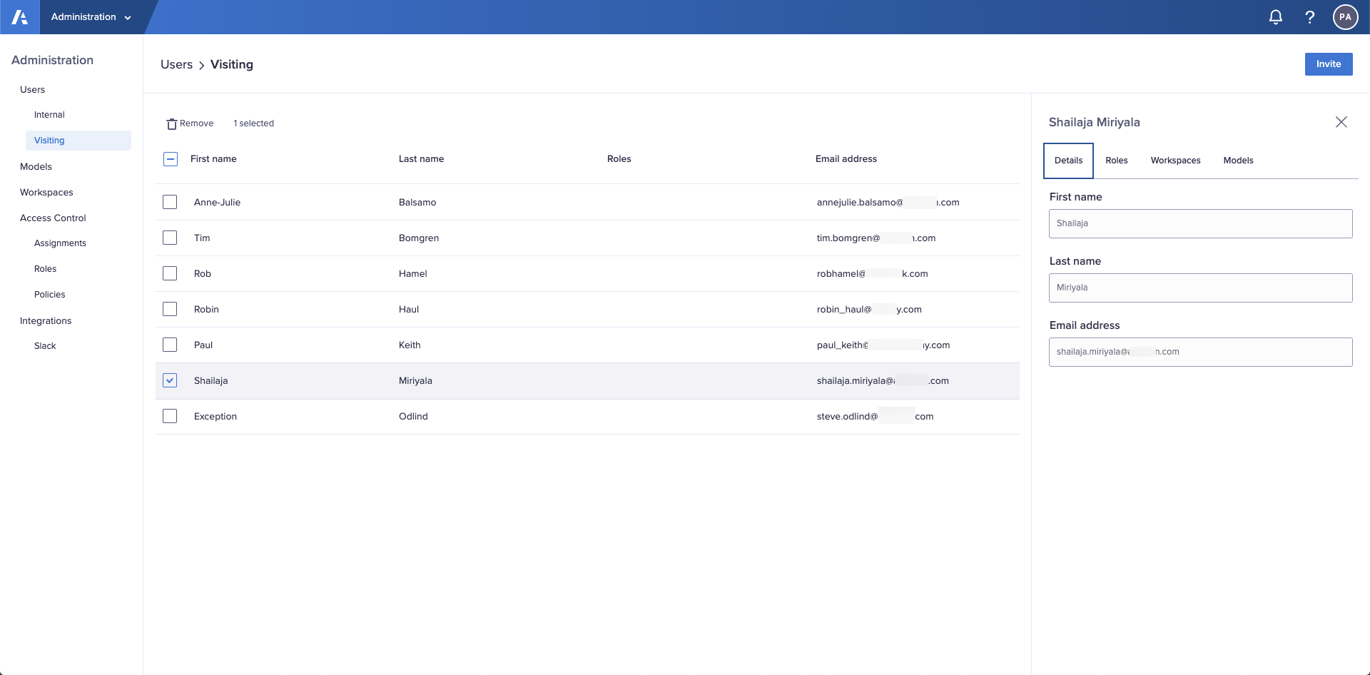 The Details tab in the Users > Visiting interface located in the Administration console.