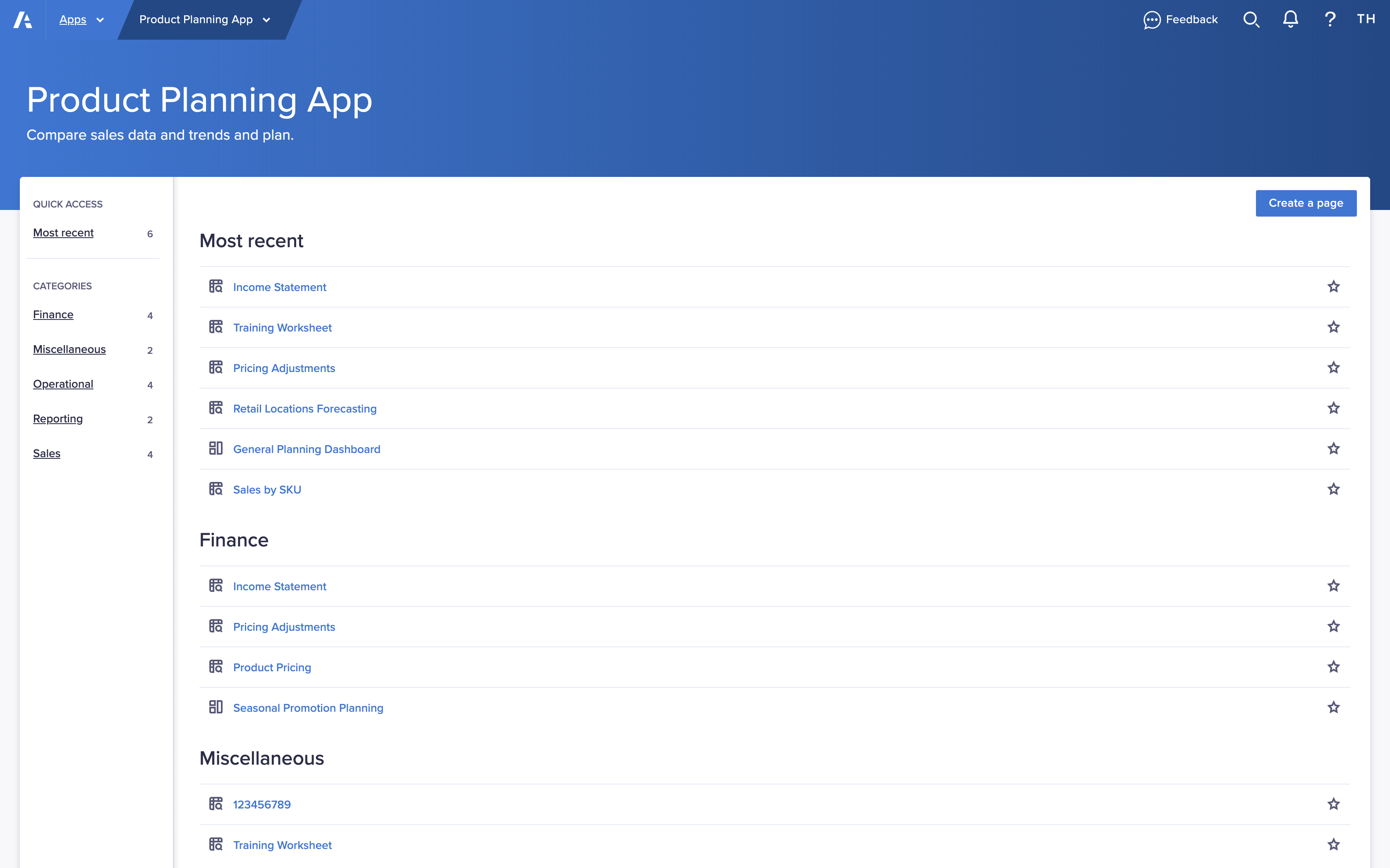 An app with pages categorized into Finance, Miscellaneous, Operational, Reporting, and Sales.