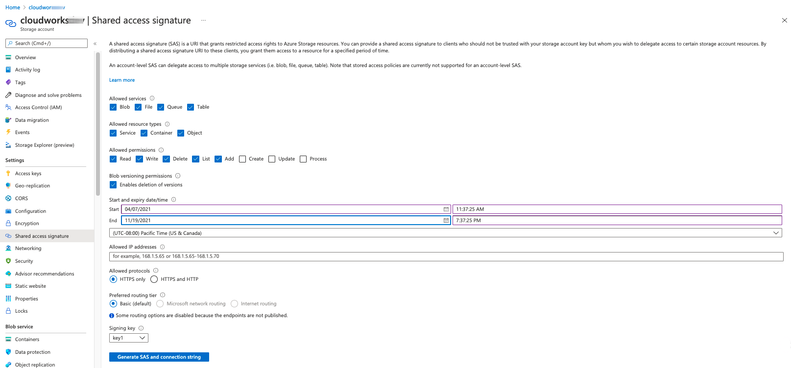 Azure Shared access signature dialog to generate SAS and connection string.