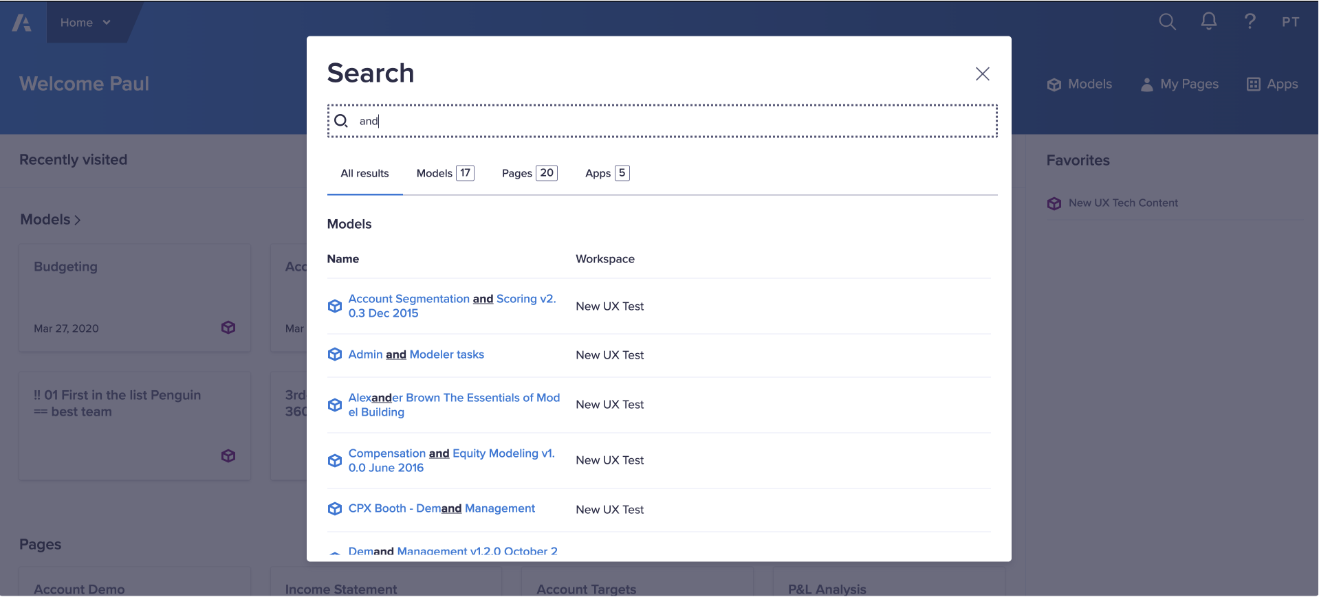 Search view with options to filter by model, apps or pages