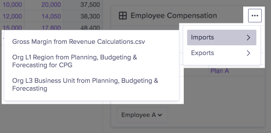 Actions dropdown on grid card. The imports category is selected and displays its options.