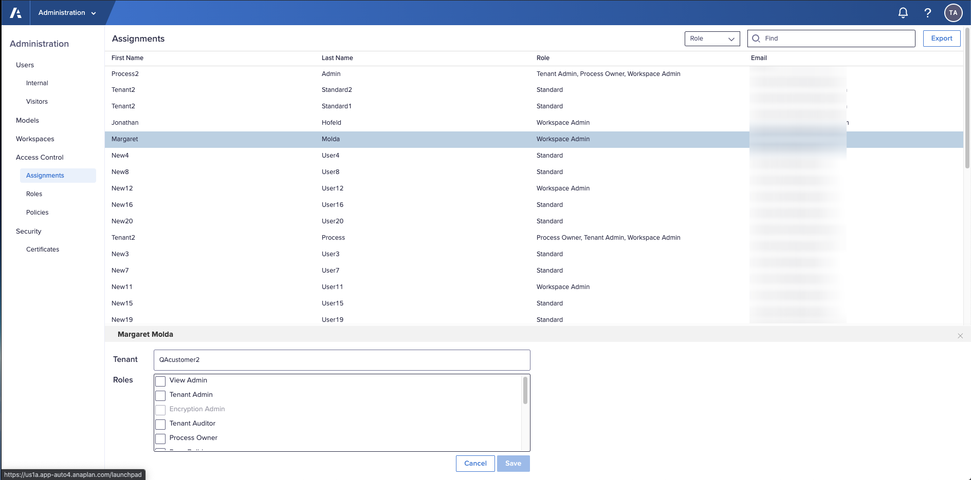 The Assignments tab in Access Control with one user selected. A panel displays at the bottom of the screen.  The panel displays the user's tenant and a list of roles.