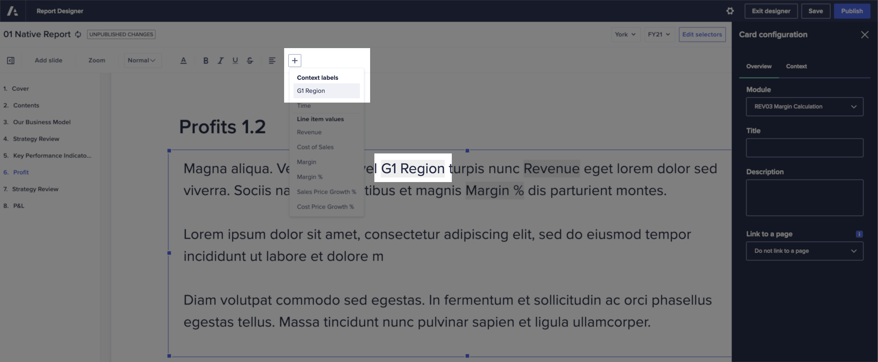 Dynamic text has been inserted into a text box, from the Add menu in the toolbar.