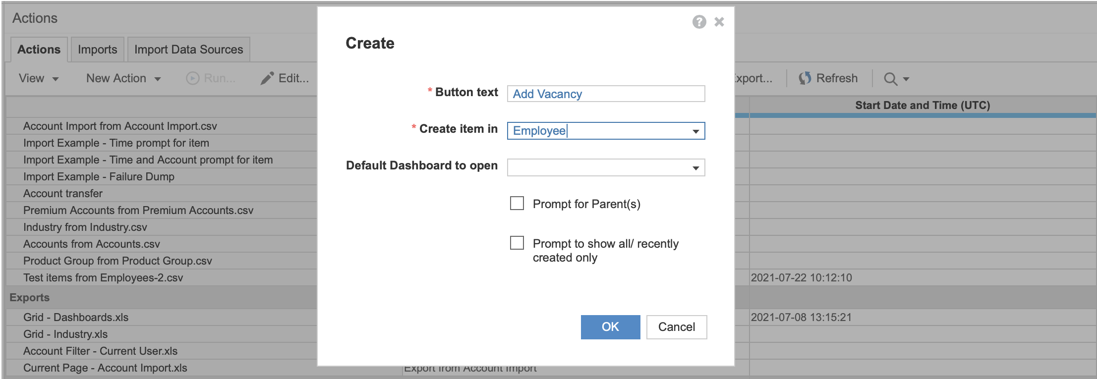 The Actions pane with the Create action dialog open. In the Button text field, the label Add Vacancy has been entered. Employee is selected in the Create item in dropdown. The other fields are blank.