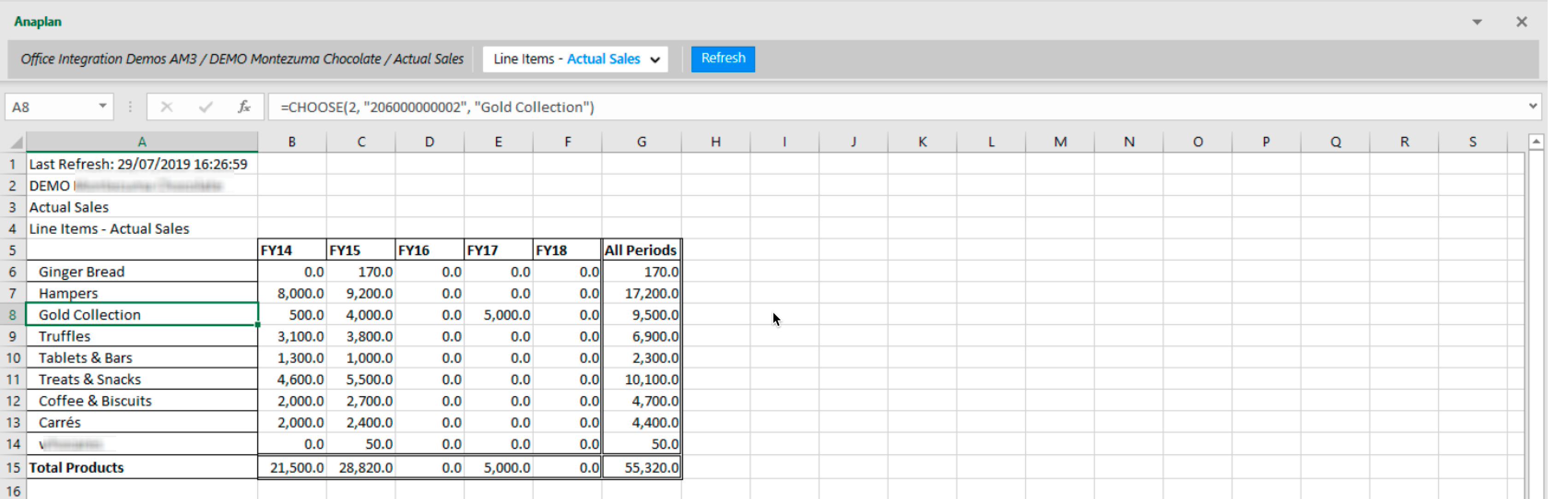 An Excel worksheet with the header of a row selected. The formula for the cell displays in the formula bar at the top of the worksheet.