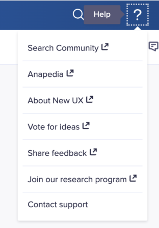 Help drop-down. Seven options display: Search Community, Anapedia, About New UX, Vote for ideas, Share feedback, Join our research program, and Contact support.