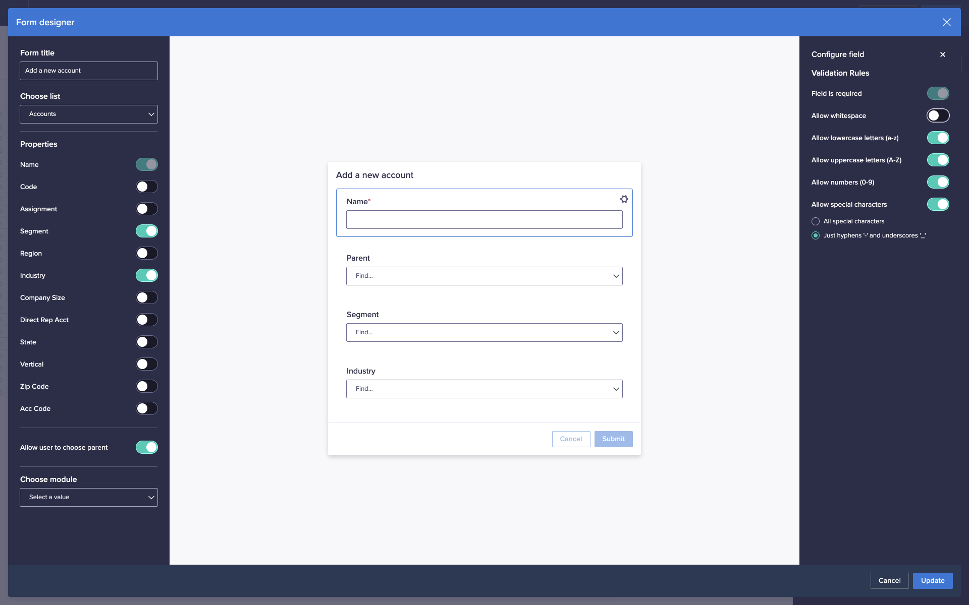 The Form designer window. In the Validation Rules panel, several options have been toggled, limiting the characters that can be entered into the Name field on the form.