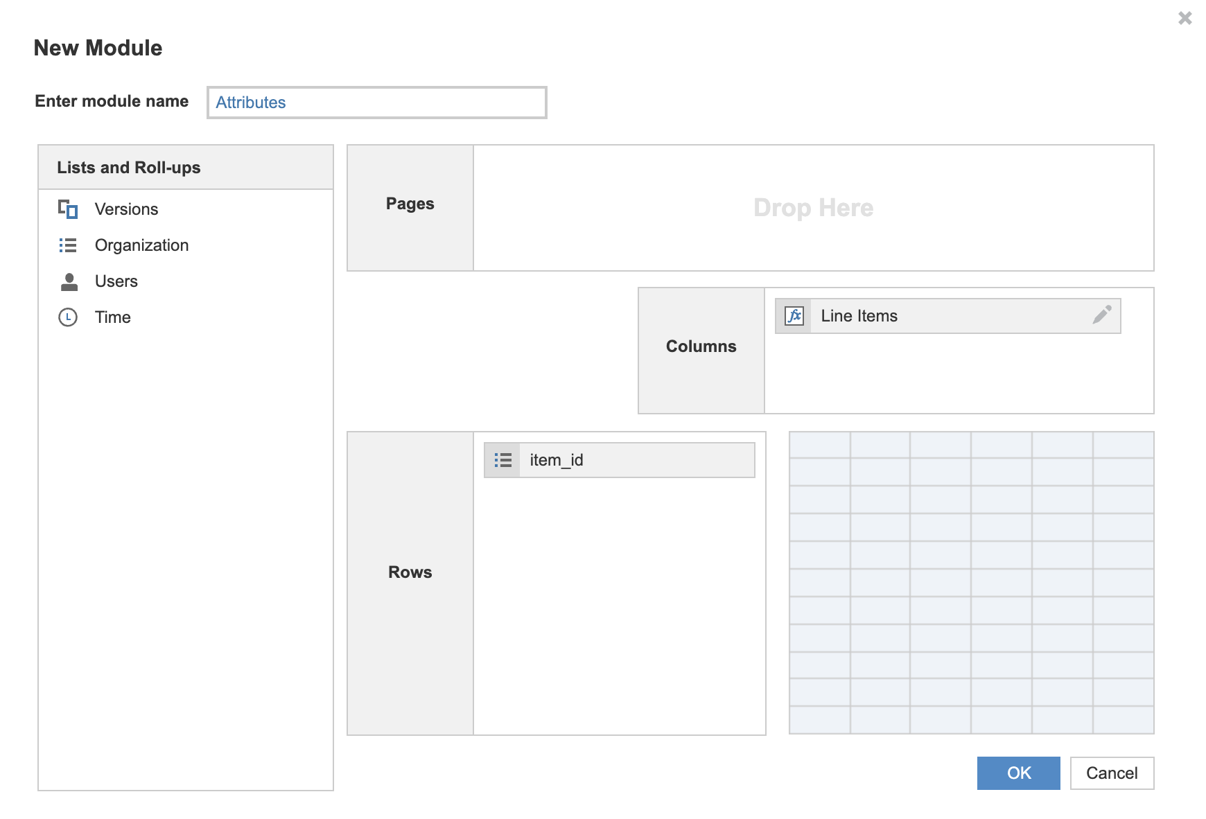 There is no Time dimension for attributes so you just need to have the item_id in rows and the line items in columns.