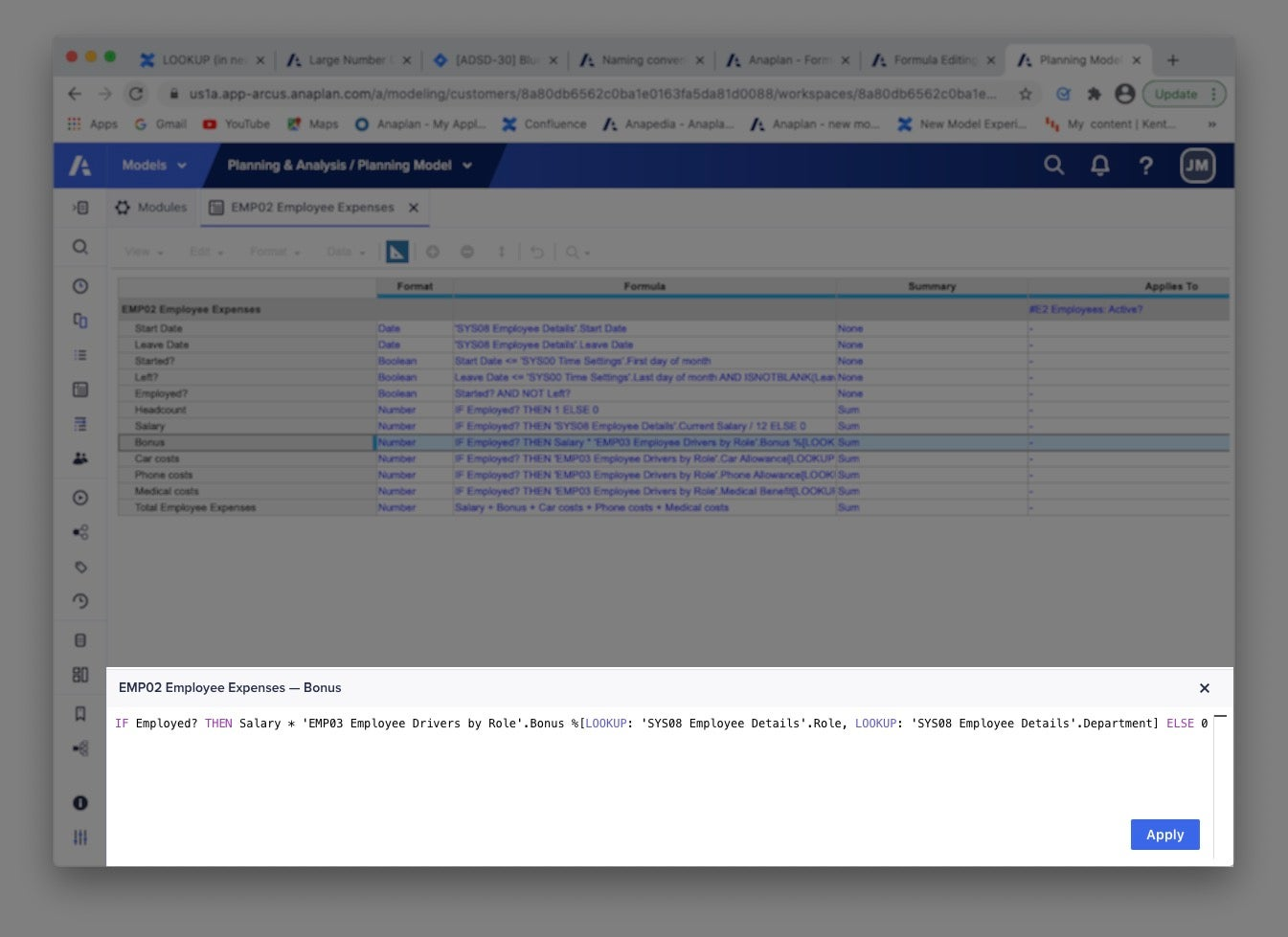 The formula editor opens in a pane at the bottom of Anaplan