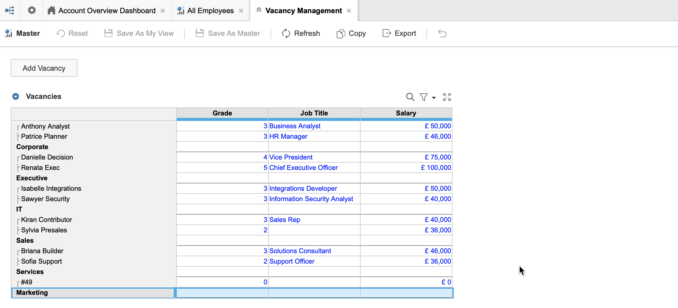 A Vacancy Management dashboard with a Vacancies grid that has the Employee list on rows. Departments display as parents in the list and Marketing is selected. A new numbered item displays as the child of Marketing.