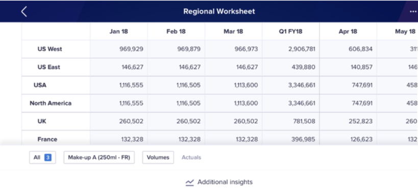 Regional Worksheet in landscape mode. Regions display on rows. Time displays on columns.