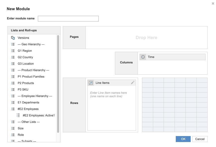 The image shows the Create Module dialog. On the left, you can drag lists into Pages, Columns, or Rows. On the right, you can choose your dimensions for the module.