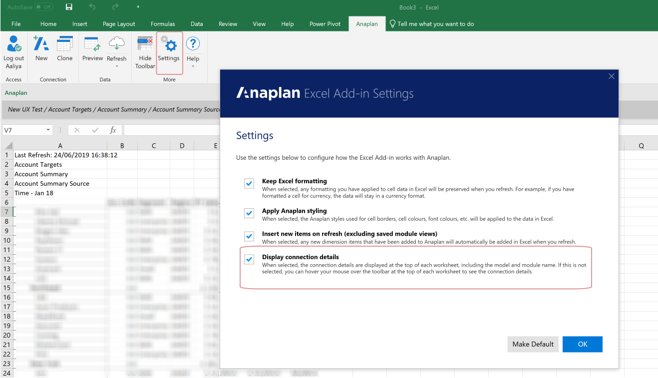 To display the connection details on your Excel spreadsheet, select the Display connection details checkmark box in the Anaplan Excel Add-in Settings and click OK. To remove the details from your worksheet, deselect the checkmark box and click OK.