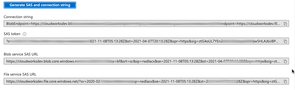 SAS container level tokens and URLs blurred for security reasons.