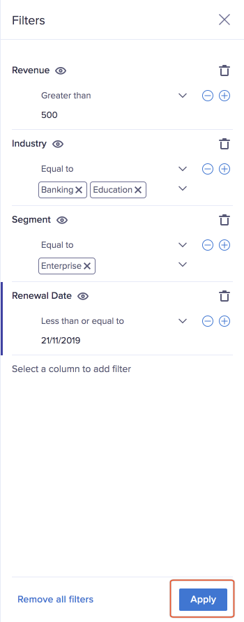 Filters panel with filter options for these data types: number, text, and date.
