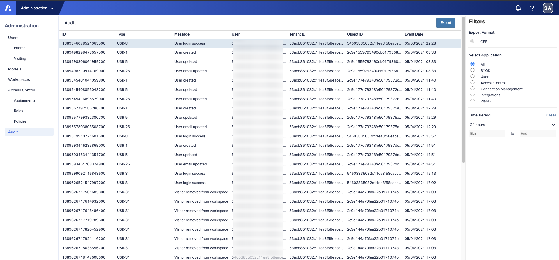 Anaplan Audit. The filter is set to show all events. The User column data is obfuscated.