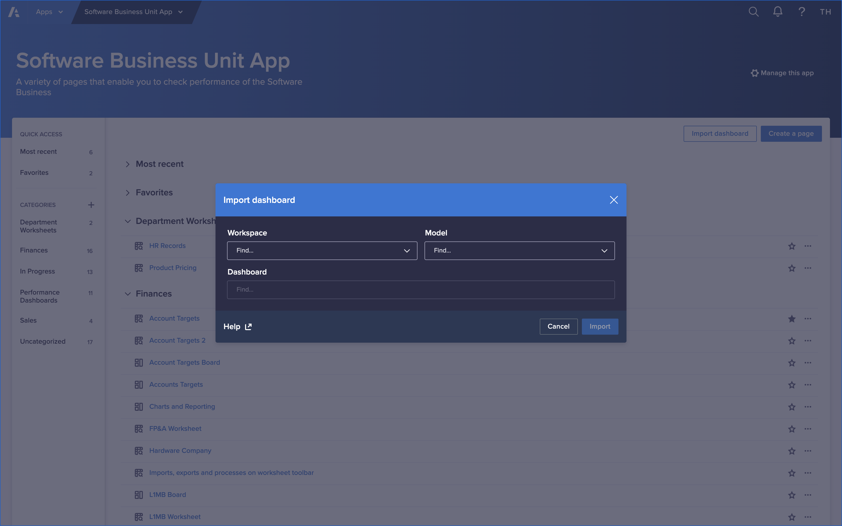 The app contents screen for an app titled Software Business Unit App is open. The Import dashboard button in the top-right was clicked, so the Import dashboard dialog displays.