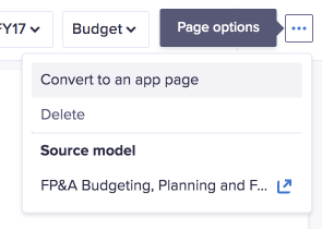 Page options drop-down. The Convert to an app page option displays at the top.