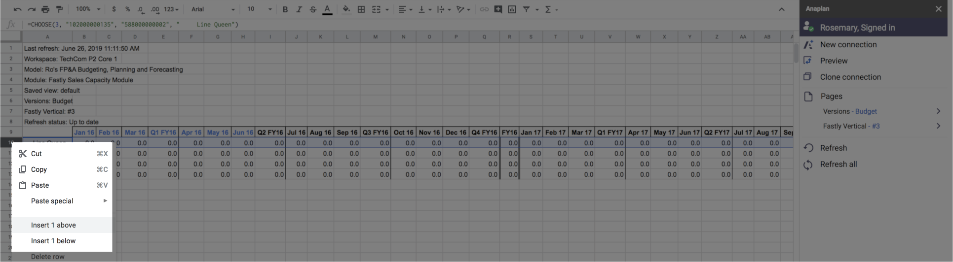 A worksheet with a context menu displayed. Insert 1 above is highlighted.