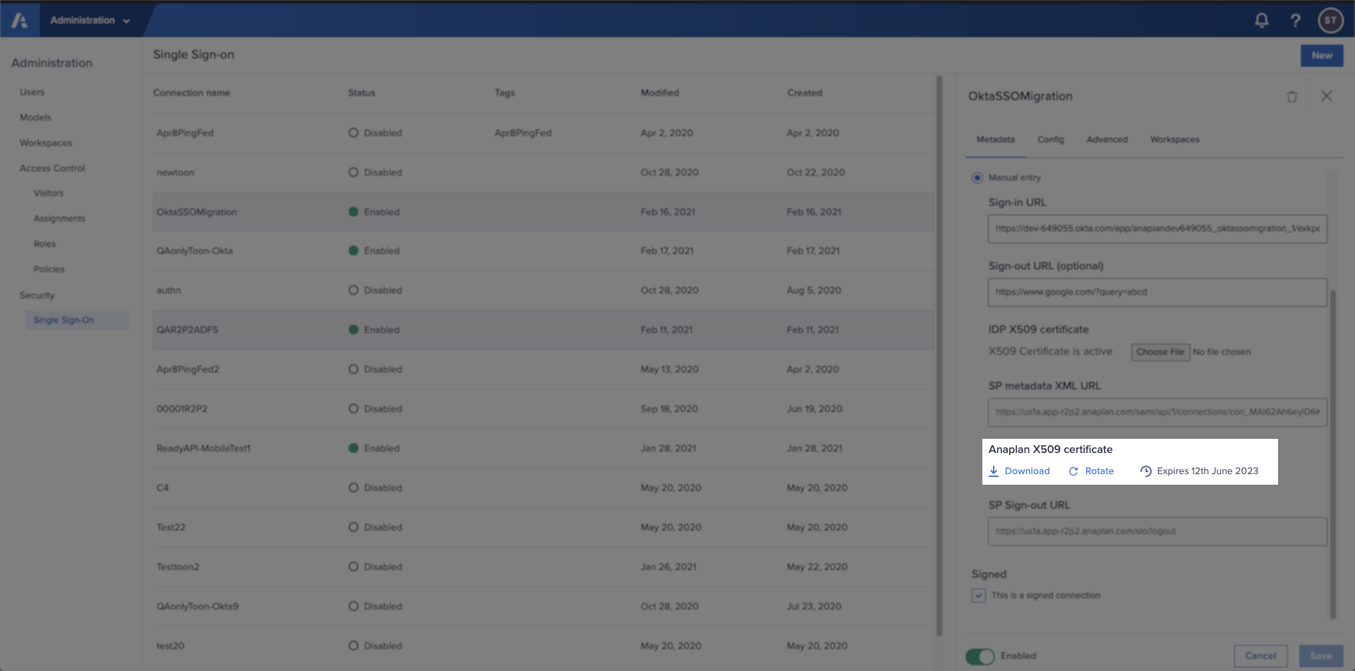 The Metadata tab in Single Sign-on with the Rotate link for Anaplan X509 certificate highlighted.