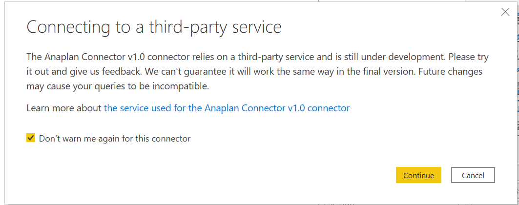 Warning for 3rd-party Connector.
